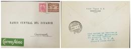 O) 1930 ECUADOR, ESMERALDAS SCADTA GREEN AIRMAIL LABEL ALONGSIDE-SCADTA SCT C10 10C - SCT C18 1s,RARE COVER -TO GUAYAQUI - Ecuador
