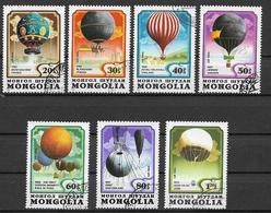 MONGOLIA 1982  POSTA AEREA  PRIMA ASCENSIONE DELL'UOMO NELL'ATMOSFERA YVERT. 145-151 USATA VF - Mongolia