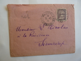 CAMBODGE   Timbre  Poste Indochine Oblitération PNOMPENH 1936   Dos Cahet à Date SIEMREAP  ANGKOR  FEV 2019 Abl7 - Indochine (1889-1945)
