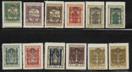 Fiume Scott # 184-195 Mint Hinged 1923 Set Overprinted, 1924, CV$37.60, Few Short Perfs - Fiume
