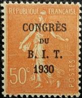 France N°264 Semeuse Lignée 50c Rouge. Congrès Du B.I.T 1930 Neuf MH - France