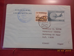 Aerogramme De Belgique De 1987 ( 1ere Liaison Aerienne Bruxelles-Niamey) - Stamped Stationery