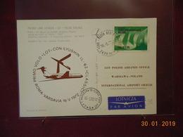 Carte Avec Illustration Au Dos ( Avion) 1er Vol Rome- Varsovie En Ilyushin - 1944-.... République