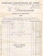 5-1169   Facture   1919 FABRIQUE D ORFEVRERIE DE TABLE G DUROUSSEAU A LYON - M. CAMPS A AURILLAC - 1900 – 1949