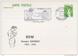 Flamme Sur Carte Postale : SEM Caricaturiste Musée Du Périgord (Périgueux En Dordogne-Périgord) Du 10-09-1980 - Marcophilie (Lettres)