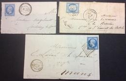 PL115 Maine Et Loire Jarzé Cachet Perlé + Cholet Verso St Laurent Des Autels Perlé Et Bureau De Passe + Angers «Guilbau - 1849-1876: Période Classique