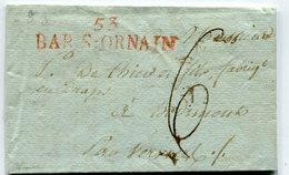MEUSE De BAR LE DUC LAC Du 13/04/1813 Linéaire 53x12 BAR/ORNAIN Taxe De 6+ Verso Marque Arrivée VERVIERS BELGIQUE - 1801-1848: Precursors XIX