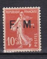 FRANCE TIMBRE DE FRANCHISE N° 5 SEMEUSE  10C ROUGE * - Franchise Militaire (timbres)