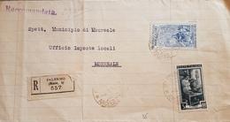 1953 Raccomandata Da Palermo Per Monreale Con Leonardo Da Vinci Da 60 L.023 - 6. 1946-.. Repubblica