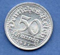 Allemagne  - 50 Reichspfennig  1921 J  - Km # 27  - état  SPL - 50 Rentenpfennig & 50 Reichspfennig