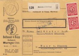 BiZone Paketkarte 1948: Murnau Skifabrik Nach Haar, Selbstbucher - Zone AAS
