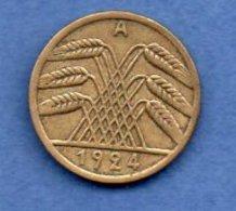 Allemagne  - Rentenpfennig  1924 A - Km # 32  - état  TTB - 5 Rentenpfennig & 5 Reichspfennig