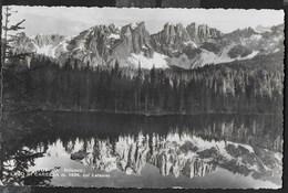 DOLOMITI - LAGO DI CAREZZA - CORONA DEL LATEMAR - FORMATO PICCOLO - TIMBRO PASSO COSTALUNGA - VIAGGIATA 1946 - Alpinisme