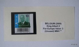 BELGIUM 2009. King Albert II - Europe 3. AIR Prior. SG 4226. Stamp With Bar Code Bottom. MNH - Bélgica