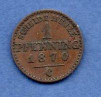 Prusse -  1 Pfennig 1870 C  -  Km # 480  -  état  TTB - [ 1] …-1871 : Etats Allemands