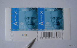 BELGIUM 2009-2013. King Albert II - Europe 1. AIR Prior. SG 4224. Block Of 2 With Bar Code And S Number (2222), MNH - Bélgica