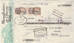 Lettre Change 23/5/1929 WILLIOT Fils Chicorée POIX Du Nord SABLE Sur Sarthe - Chartoire Combronde Puy De Dôme - Bills Of Exchange
