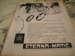 ANCIENNE PUBLICITE BATTEMENTS DE COEUR  MONTRE ETERNA.MATIC 1955 - Bijoux & Horlogerie