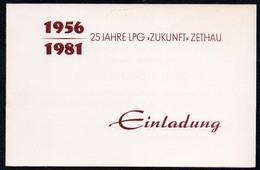 C2547 - Zethau - Einladung - 25 Jahre LPG Zukunft - Kulturhaus Ernst Thälmann Lengefeld - Faire-part