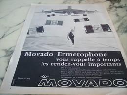 ANCIENNE PUBLICITE RENDEZ VOUS IMPORTANT MONTRE  MOVADO 1955 - Jewels & Clocks