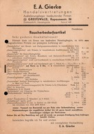 A1348 - Greifswald E.A. Gierke - Raucherbedarf Tabakwaren - Preisliste - Sonderstempel - Lebensmittel