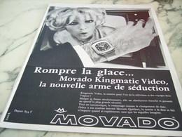 ANCIENNE PUBLICITE ROMPRE LA GLACE MONTRE  MOVADO 1955 - Jewels & Clocks