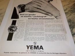 ANCIENNE PUBLICITE YACHTINGRAF YEMA 1968 - Jewels & Clocks