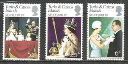 Turks & Caicos Islands 1977 Mint Stamps MNH(**) Set Famous People Royals - Königshäuser, Adel