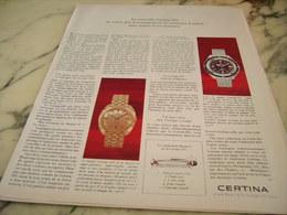 ANCIENNE PUBLICITE MONTRE  CERTINA DS 1968 - Jewels & Clocks