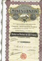 59-MINES D'ANZIN. Action 1935. DECO. Capital 222,5 MF. - Other
