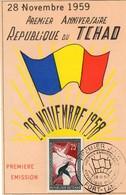 CPA -  28 Novembre 1959 - Premier Anniversaire - République Du TCHAD - Premier Jour D' émission - Inaugurations