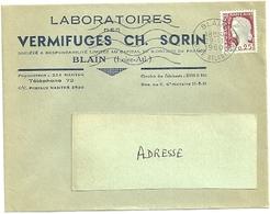 LOIRE ATLANTIQUE  - Dépt N° 44 = BLAIN 1960 =  FLAMME Non Codée = SECAP Muette '5 Lignes Ondulées' + VERMIFUGES SORIN - Postmark Collection (Covers)