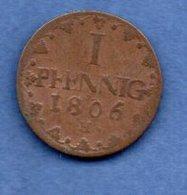 Saxe-  1 Pfennig 1806 H  -  Km # 1000  -  état  B+ - Piccole Monete & Altre Suddivisioni