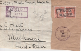 Etats Unis Oblitération Baco/Maine Sur Carton Colis Pour La France 1922 - Poststempel