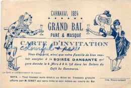 Carnaval 1924 - Grand Bal Paré Et Masqué - Carte D' Invitation   .. (111625) - Publicités