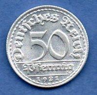 Allemagne -  50 Reichspfennig 1921 D - Km # 27  -- état  SPL - 50 Rentenpfennig & 50 Reichspfennig
