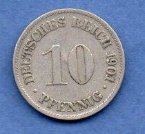 Allemagne -  10 Pfennig 1901 D - Km # 12 -- état  TB - [ 3] 1918-1933 : Republique De Weimar