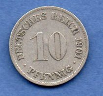 Allemagne -  10 Pfennig 1901 D - Km # 12 -- état  TB - [ 3] 1918-1933 : Weimar Republic