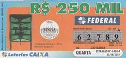Brasil - 2010 - MUSEU NACIONAL DE BELAS ARTES - ORDINARIO MARCHE 4, 1994 - MAURICIO SALGUEIRO - Billetes De Lotería