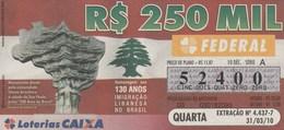 Brasil - 2010 - 130 ANOS IMIGRAÇAO LIBANESA NO BRASIL - MONUMENTO DOADO PELA COMUNIDADE - Billetes De Lotería