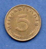 Allemagne -  5 Reichspfennig 1938 A - Km # 91 -- état  TTB+ - [ 4] 1933-1945 : Troisième Reich