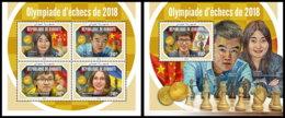 DJIBOUTI 2018 MNH Chess Olympiad Schach Olympiade De Echecs 2018 M/S+S/S - OFFICIAL ISSUE - DH1904 - Echecs