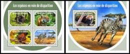 DJIBOUTI 2018 MNH Endangered Species Gefährdete Tiere Especes Menacees S/S - IMPERFORATED - DH1904 - Briefmarken