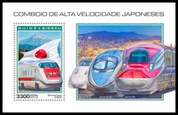 GUINEA BISSAU 2018 MNH Japanese Speed Trains Schnellzüge Trains Grande Vitesse S/S - OFFICIAL ISSUE - DH1904 - Eisenbahnen