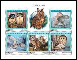 GUINEA BISSAU 2018 MNH Owls Eulen Hiboux M/S - IMPERFORATED - DH1904 - Eulenvögel