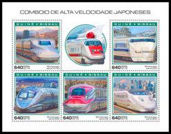 GUINEA BISSAU 2018 MNH Japanese Speed Trains Schnellzüge Trains Grande Vitesse M/S - IMPERFORATED - DH1904 - Eisenbahnen