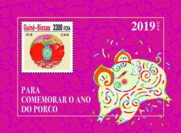 GUINEA BISSAU 2018 MNH Year Of The Pig Jahr Des Schweins Annee Du Cochon S/S - IMPERFORATED - DH1904 - Chines. Neujahr
