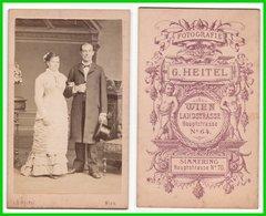 Photografie: G. Heitel, Wien - Portrait, Schönes Brautpaar Hochzeit Mariage Wedding  #0328 CDV / Kab - Oud (voor 1900)