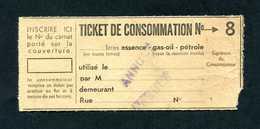 WWII - Ticket De Consommation Annulé (1940) Essence - Gas-oil - Pétrole - French Emergency Issue WW2 - Bons & Nécessité