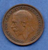 Grande Bretagne  - 1/2 Penny 1927 -  Km # 824  - état  TB - 1902-1971 : Monnaies Post-Victoriennes